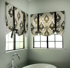 no sew tie up shades, crafts, reupholster, window treatments, windows, The finished product... for bathroom...