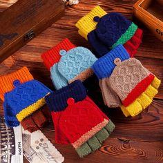 S61564A winter custom fashion kid knit gloves child gloves