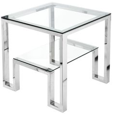 Features:  -Not suitable for outdoor use.  -Rustique.  Shape: -Rectangle.  Design: -Table.  Style: -Contemporary.  Top Finish: -Clear.  Base Material: -Metal.  Top Material: -Glass.  Base Type: -Sled.