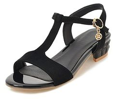 5c5a03f28bb68 SHOWHOW Women's Classic T-Strap Sandals - Ankle Strap Low Heels - Holiday  Shoes -- Thanks for viewing our photograph.