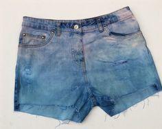 Pastel Shorts Denim Shorts in Lavender & Blue to fit UK size 12 US size 8