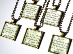 These handmade necklaces are created from the pages of a Cambridge First Edition ofThe Complete Works of William Shakespeare.