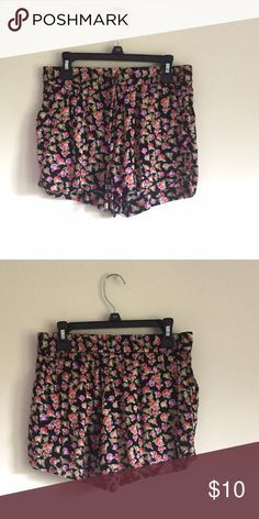 Black and Floral Patterned Shorts Excellent Condition Timing Shorts