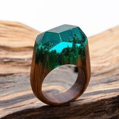 """Discount in April on the model """"GREEN WOOD"""" -20%  Order on http://ift.tt/2lSUnmW  #wooden #ring #greenwood #resin #magic"""
