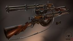 Gun by Guillaume Sinou Based on a concept by . Steampunk Weapons, Sci Fi Weapons, Weapon Concept Art, Weapons Guns, Military Weapons, Fantasy Sword, Fantasy Weapons, Arsenal, Punk Genres