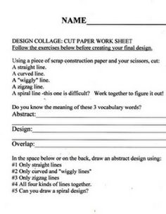 FREE:DESIGN COLLAGE: CUT PAPER EXERCISE, PRINTABLE, AND GROUP POSTER. - TeachersPayTeachers.com