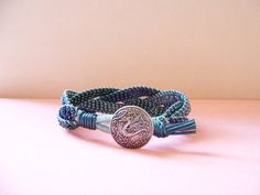 Silver Dragon Metallic Blue Beaded Braided Leather Wrap Bracelet