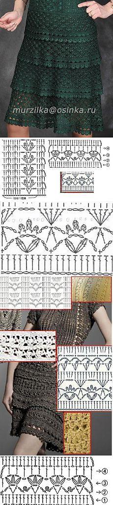 women things life, women things to buy, women things Crochet Skirts, Crochet Tunic, Irish Crochet, Diy Crochet, Crochet Clothes, Crochet Diagram, Crochet Chart, Vanessa Montoro, Crochet Stitches Patterns