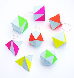 CRAFT KIT - pastel & neon geometric decorations. £5.50, via Etsy.
