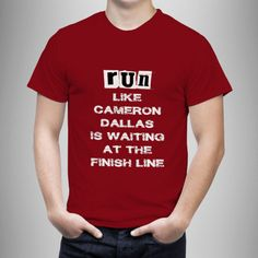 Run Cameron Dallas Red T-Shirt Front Side Unisex Adult