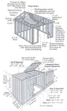 Download Free Shed Plans - See how to build a durable 10'x12' gable roof all-purpose storage shed and a practical wooden trash bin and recycling center.
