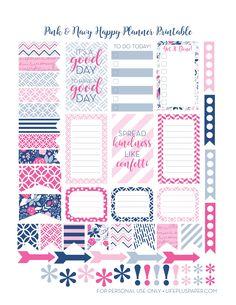 LifePlusPaper.com Happy Planner Printable Navy & Pink 1