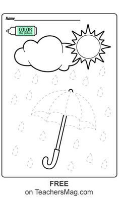 On this worksheet students trace the lines to make an umbrella that can withstand the rain they also get to trace. Once they are done with the tracing the rainstorm can be colored-in as well! Weather Activities Preschool, Preschool Writing, Homeschool Kindergarten, Preschool Learning Activities, Free Preschool, Kindergarten Worksheets, Preschool Activities, Kids Learning, Weather Worksheets
