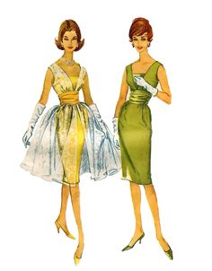 1960s SEXY COCKTAIL DRESS Pattern Prom Bridesmaid Dress, Sheer Overskirt & Cummerbund Bust 34 McCalls 5349 Vintage Womens Sewing Patterns by DesignRewindFashions on Etsy https://www.etsy.com/listing/156963174/1960s-sexy-cocktail-dress-pattern-prom
