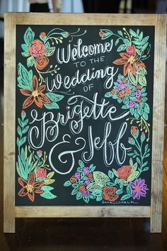 colored chalk wedding sign