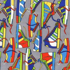 Owen's Curtains?  Timeless Treasures House Designer - Totally 80s - Kicks in Grey
