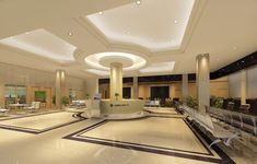 Service hall ceilings and lighting design rendering