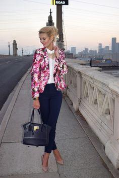 Kate Spade Rose Blazer, Suite pants, Blouse, Los Angeles, Rose print, kate spade, blazer, work outfit, work attire, work, office, white blouse, blouse