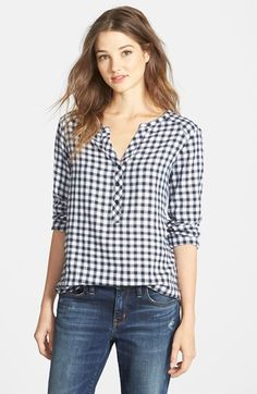 Ace Delivery Check Henley Top available at Kurta Designs, Blouse Designs, Western Tops, Cute Blouses, Henley Top, Couture Tops, Grunge Style, Indian Wear, Pretty Dresses