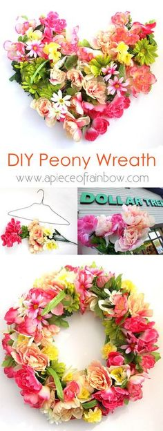 Make a stunning $344 flower wreath for $15! The easiest and most fun way to make a beautiful wreath with surprising materials! - A Piece Of Rainbow