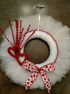 White Tulle Valentine's Day Wreath by MaggiesCreations67 on Etsy