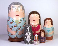 Set of 6 Custom Hand Painted Nesting Dolls
