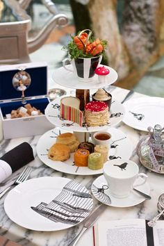 We might have to go have afternoon tea . Mad Hatter's Afternoon Tea at the Sanderson hotel. Was told by a friend that Mad Hatter's was the place to go, cause the others aren't worth the price. Mad Hatters Afternoon Tea, Afternoon Tea At Home, Afternoon Tea London, Mad Hatter Tea, Tea Cup Saucer, Tea Cups, 3 Tier Cake Stand, Cake Stands, Vegan Teas