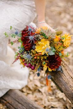 Burgundy and Yellow Wildflower Bouquet | Brittrene Photography https://www.theknot.com/marketplace/brittrene-photography-san-francisco-ca-397848 | Angela Perteet | The Petal Company