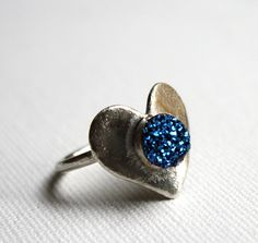 Sterling Silver Heart Ring with Blue Drusy by RachelPfefferDesigns