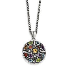 Sterling Silver w/14k  Antiqued Multi Gemstone Necklace
