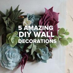 5 erstaunliche DIY Wanddekorationen // - end Home Design Diy, Home Crafts, Fun Crafts, Diy And Crafts, Diy Wanddekorationen, Easy Diy, Mur Diy, Diy Wall Decor, Wall Decorations