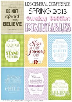 My Computer is My Canvas: {NEW} LDS Conference Printables - Sunday Sessions!