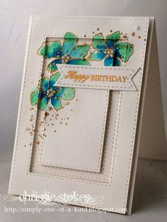 Simply One of a Kind: Birthday card using SSS Artful Flowers, SSS Stitched Rectangle Dies Card Making Inspiration, Making Ideas, Creative Inspiration, Card Sketches, Sketch Art, Card Tutorials, Watercolor Cards, Copics, Card Tags