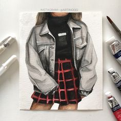 Doodle Canvas, Canvas Art, Color Pencil Art, Drawing Clothes, Drawing Reference, Fashion Sketches, Colored Pencils, Military Jacket, Drawings