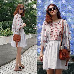 Chloe Hudson Bag, Embroidery Dress, Round Sunglasses, Zara, Girly, Boho, Dresses, Style, Women's