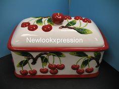 3D RED CHERRY Bread box Kitchen decor CHERRIES Ceramic bar decor fruit new