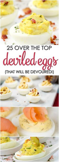 25 Deviled Egg Recipes that are over the top delicious and will be devoured (Summer Baking Eggs) Bite Size Appetizers, Finger Food Appetizers, Finger Foods, Appetizer Recipes, Easter Recipes, Egg Recipes, Low Carb Recipes, Cooking Recipes, Recipies