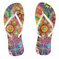 Fantasy Blooms Patterned Thongs Flip Flops Jandals - women woman style stylish unique cool special cyo gift idea present