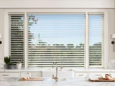 Ambassador Blind & Shutter provides a large selection of kitchen blinds, shades, and shutters. Red Shutters, Honeycomb Shades, Decoration For Ganpati, Interior Styling, Interior Design, Kitchen Blinds, Kitchen Window Treatments, Shades Blinds, Custom Windows