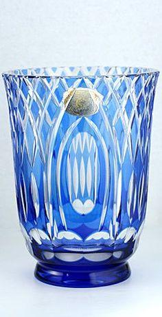 c.1930s 40s Val St. Saint Lambert Blue Overlay Cut Crystal Vase