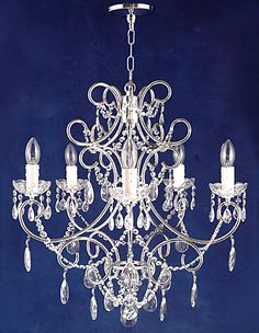 Wrought Iron Crystal Chandelier Pink Stars Country French White ceiling fixture