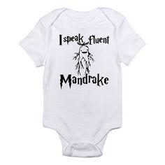Harry Potter Baby Onesie , I Speak Fluent Mandrake ,Harry Potter Inspired Baby Onesie ,Harry Potter Baby Bodysuit , Baby Shower Gift by FirstJoyBoutique on Etsy https://www.etsy.com/listing/289415421/harry-potter-baby-onesie-i-speak-fluent