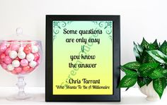 """TV Game Show Printable Quote Art Who Wants To Be A Millionaire """"Some Questions..."""" Printable Art, Quote Print, Life Quote, Art Poster Gifts"""