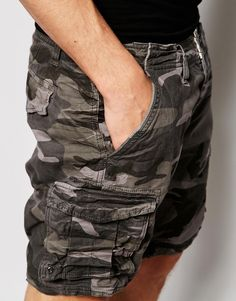 Image 3 of Selected Homme Camo Cargo Shorts
