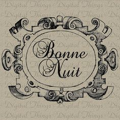 French Quote Bonne Nuit Good Night Script Word by DigitalThings