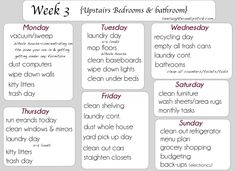 Detailed Cleaning list week 3