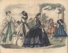 civil war dresses   Civil War Era Fashion Plate - June 1863 Godey's Lady's Book