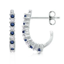 Angara Round Sapphire and Diamond Inside Out Hoop Earrings MjsRM2fR3