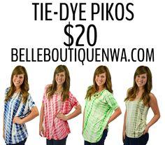 Tie-Dye Pikos! https://belleboutiquenwa.com/piko.html #pikolove #tiedyepiko #fashion