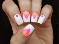 #nail #nails #nailart #gradient #sponging #studs #white #pink #coral #sand #manicure